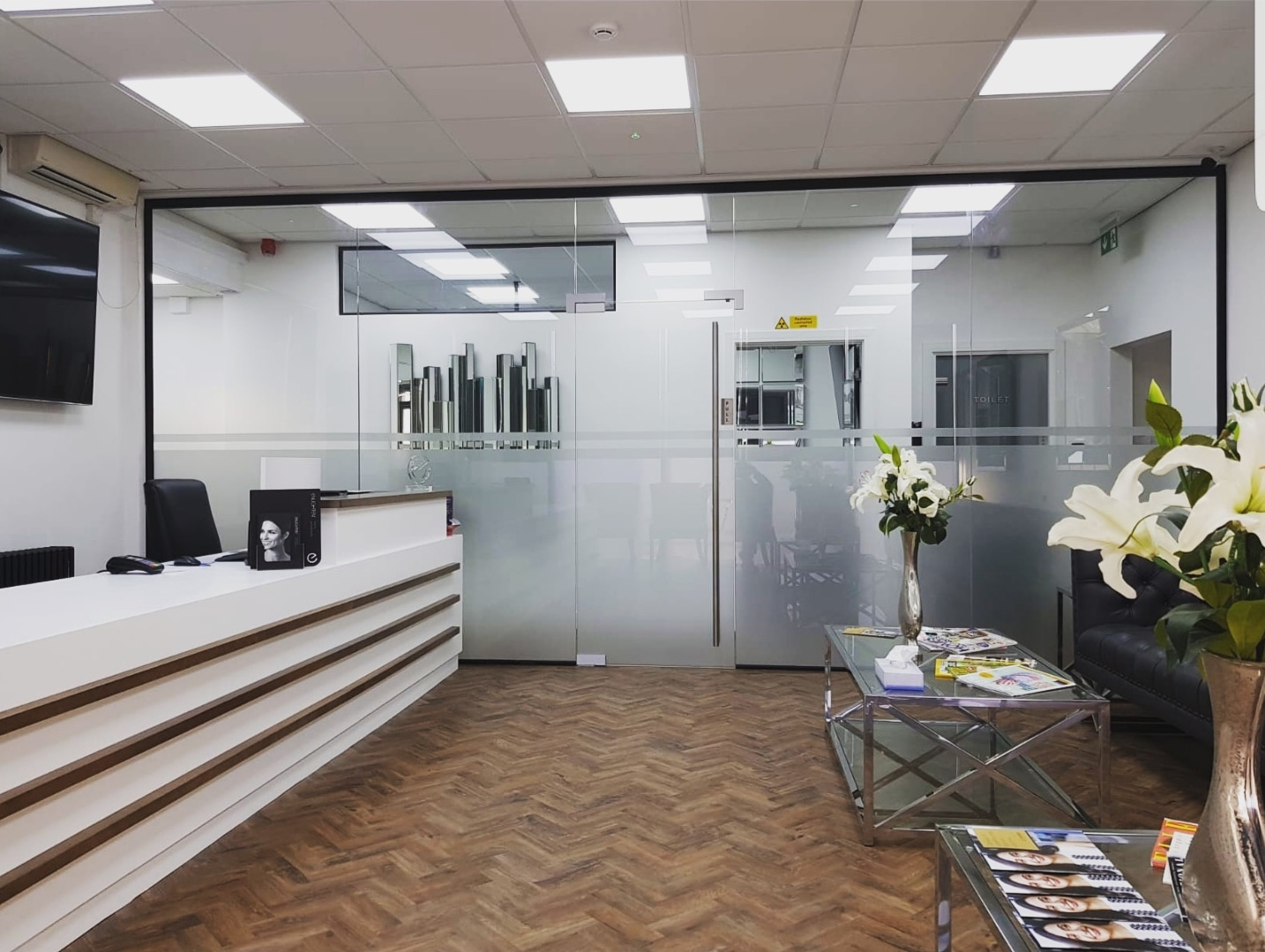 Glass office partition windows and door