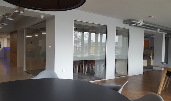 Glass partitions inside office building