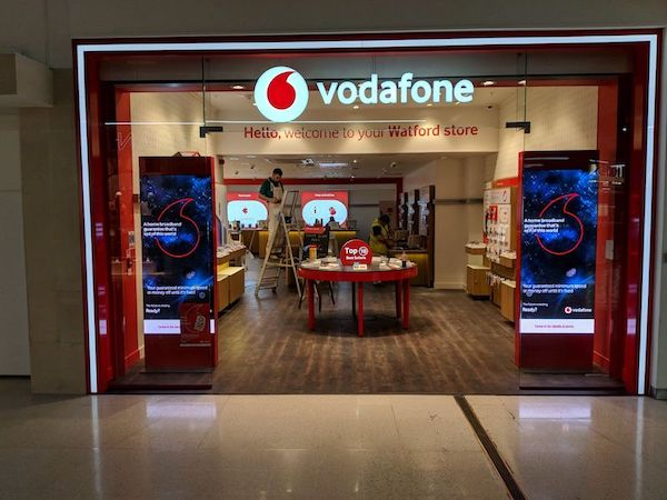 Glass shop front for Vodafone